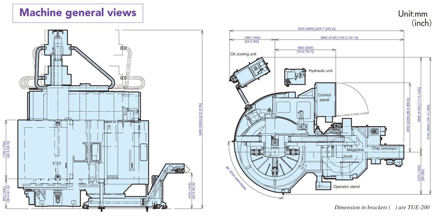 Kích thước lắp đặt máy tiện đứng CNC Toshiba
