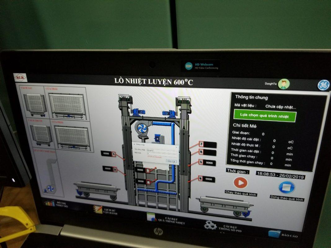Giao diện màn hình máy tính điều khiển