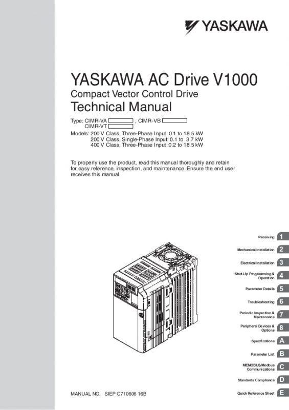 Yaskawa v 1000 manual
